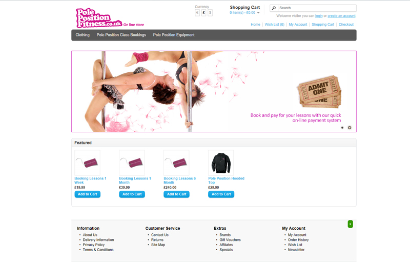 Pole Position Fitness on-line store